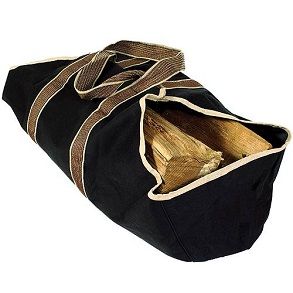 WoodEze Heavy Duty Canvas Firewood Tote-Black